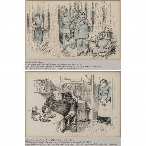 Engl, Josef Benedikt. Zwei Karikaturen: Weißwurstessen und Durchlaucht im Wald. Tw. aquarellierte Tuschpinsel- und Kohlezeichnungen, 29 x 42 bzw. 29 x 46 cm. Beide monogr.