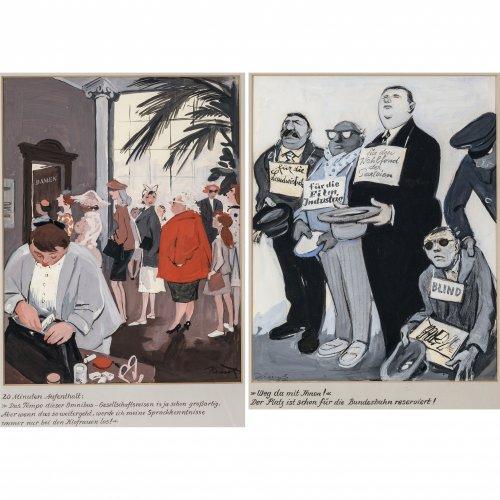 Krisch, Rudolf. Zwei Karikaturen: Auf der Reise - 20 Minuten Aufenthalt bzw. Almosen für die Filmindustrie. Goauche. 35 x 28 cm bzw. 25 x 34 cm. Sign.