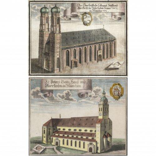 Wening, Michael. Münchner Frauenkirche und Peterskirche. Kupferstiche. 28,5 x 36,5 und 26 x 33,5 cm. Tw. fleckig.