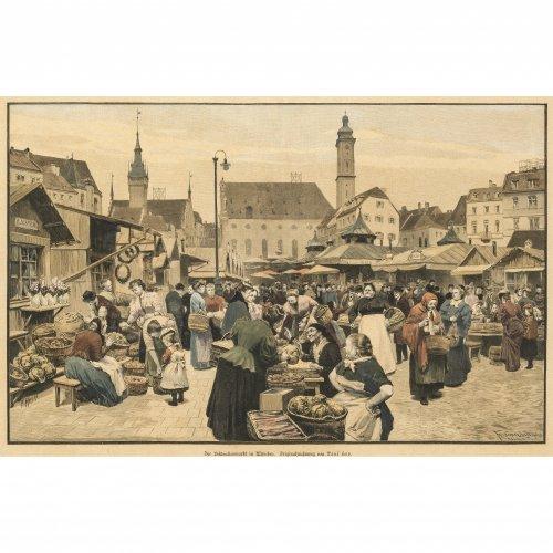 Zwei kol. Stiche: Auf dem Viktualienmarkt bzw. Der Metzgersprung am Fischbrunnen auf dem Marienplatz. Nach Amling bzw. Paul Hey. 22 x 32 cm bzw. 31 x 50 cm.