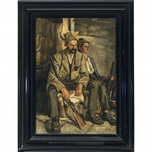Damberger, Josef. Zwei rastende Jäger. Öl/Holz. 60 x 43 cm. Sign.
