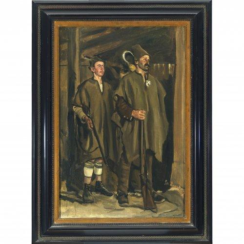 Damberger, Josef. Haberfeldtreiber. Öl/Lw. 67 x 44 cm. Sign.