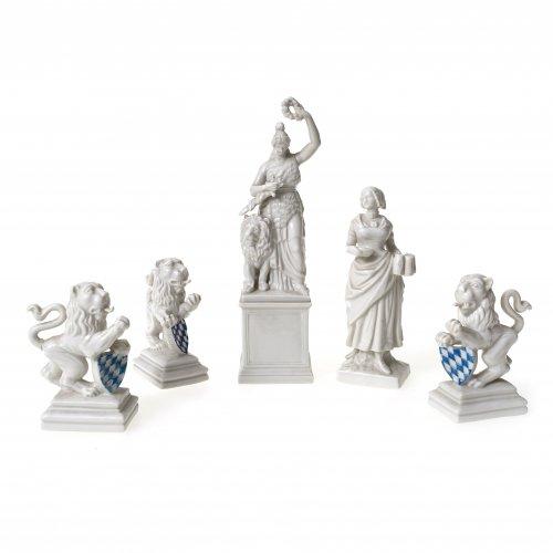 Fünf Bavaricafiguren, Nymphenburg (Patrona Bavaria, Kellnerin, 3 Löwen). Tw.  rest. H. 9-20 cm.