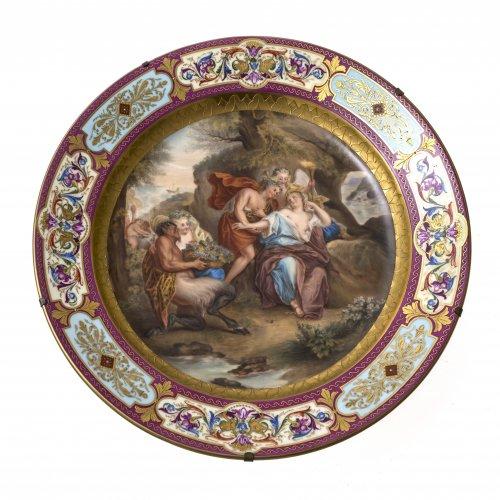 Großer Teller. In der Art von Wien. Porzellan. Darstellung
