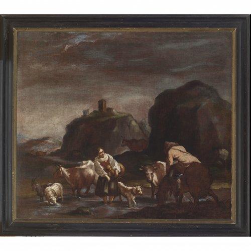 Roos Malerfamilie,  Umkreis. Schäferszene. 103 x 118 cm. Doubl., rest. Unsign.