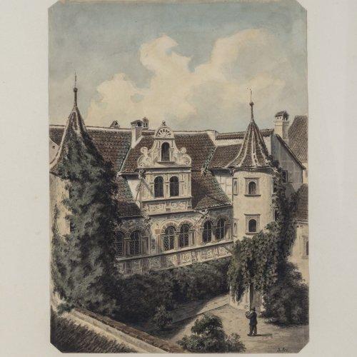 Reinhardt, Robert von. Drei Stadtansichten. Aquarell. Je ca. 29,5 x 23 cm. Tw. Monogr. Ehemals im Besitz der Olga von Würrtemberg 1822-1892.