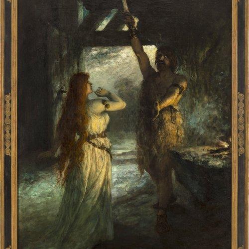 Leeke, Ferdinand. Szene aus dem Ring des Nieblungen. Öl/Lw. 136 x 101 cm. Sign.