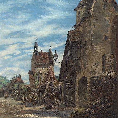 Quaglio, Eugen. Die östliche Stadtmauer von Sulzfeld (Franken). Öl/Lw. 102,5 x 72,5 cm. Sign.
