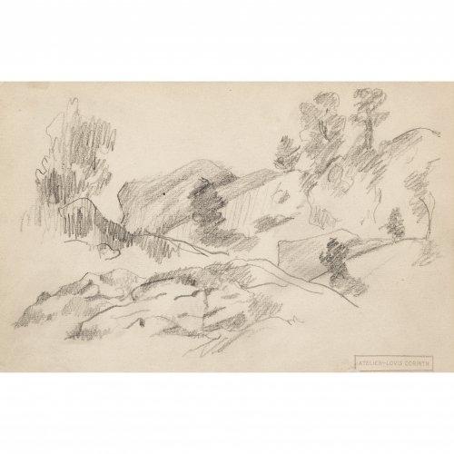 Corinth, Lovis. Bleistiftskizze. Landschaft recto, verso zwei skizzierte Tiere. 13,8 x 21,5 cm. Gestempelt