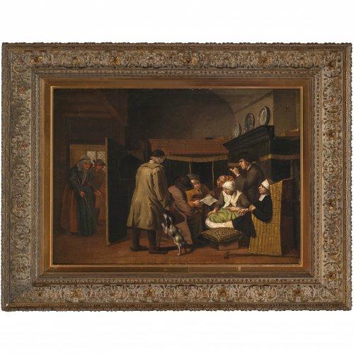 Horemans II, Jan Josef, zugeschrieben, Testamentseröffnung, Öl/Lw./Schichtplatte, 46 x 57 cm.