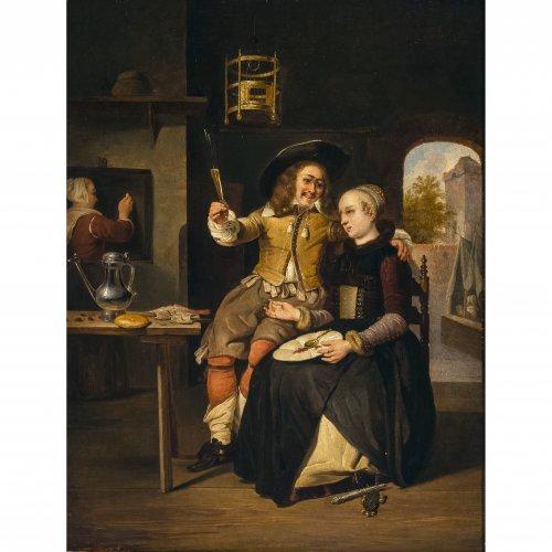 Metsu, Gabriel, Nachahmer. Kopie nach dem Selbstbildnis des Künstlers mit seiner Frau Isabella de Wolff,  Öl/Lw. 40 x 30 cm. Unsign.