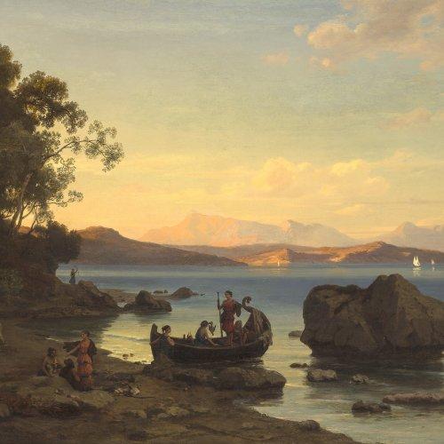 Schmidt, Max. Küstenlandschaft mit Amazonen. Öl/Lw. 82,5 x 132,5 cm. Doubl., rest. Sign.