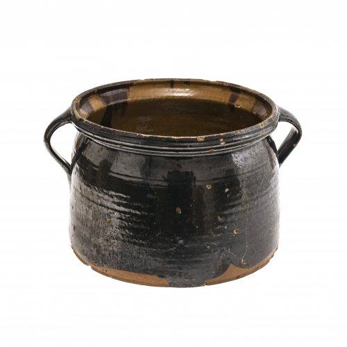 Doppelhenkeltopf, Irdenware, braun glasiert, Kröning, H. 21 cm.