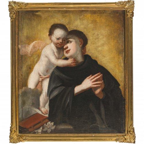 Süddeutsch, 18. Jh. Hl. Antonius mit dem Jesuskind, Öl/Lw. 93 x 81 cm.