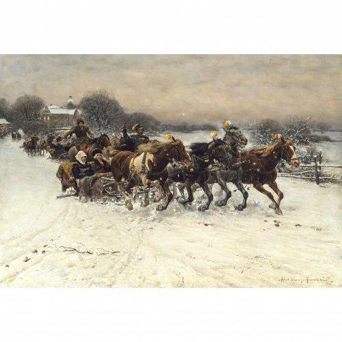 Wierusz-Kowalski, Alfred von. Schlittenfahrt. Öl/Holz. 44,3 x 65 cm. Min. Bestoßung mittig und an den Rändern. Sign. Ohne Rahmen.