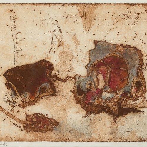 Janssen, Horst. Svanshall. Schwarzes aus der Elysè. Farbradierung. 14 x 19,5 cm. Monogr., dat. 76.