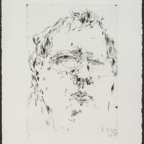 Janssen, Horst. Selbstporträt. Radierung. 39,5 x 28,5 cm. Monogr., dat. 70.