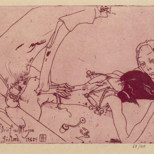Janssen, Horst. Zu Brief an Mirjyam. Farbradierung. 23,5 x 31,5 cm. Aufl. 67/100. Monogr., dat. 84.