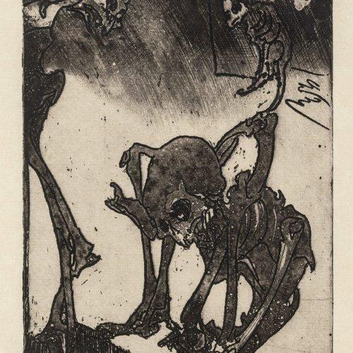 Janssen, Horst. Drei Skelette. Radierung. 25,5 x 18 cm. Monogr., dat. 83.