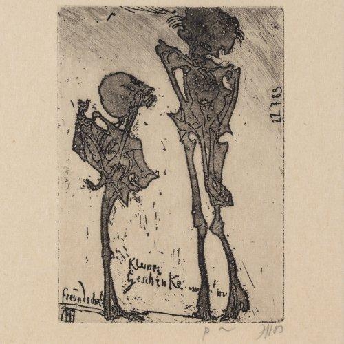 Janssen, Horst. Zwei Skelette.