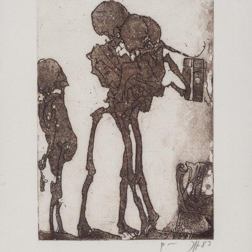 Janssen, Horst. Drei Skelette. Farbradierung. 23 x 17. Monogr., dat. 83.
