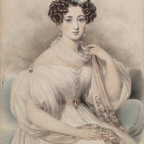 Ender, Johann Nepomuk. Mädchenporträt. Aquarell. Sign., dat. 1833